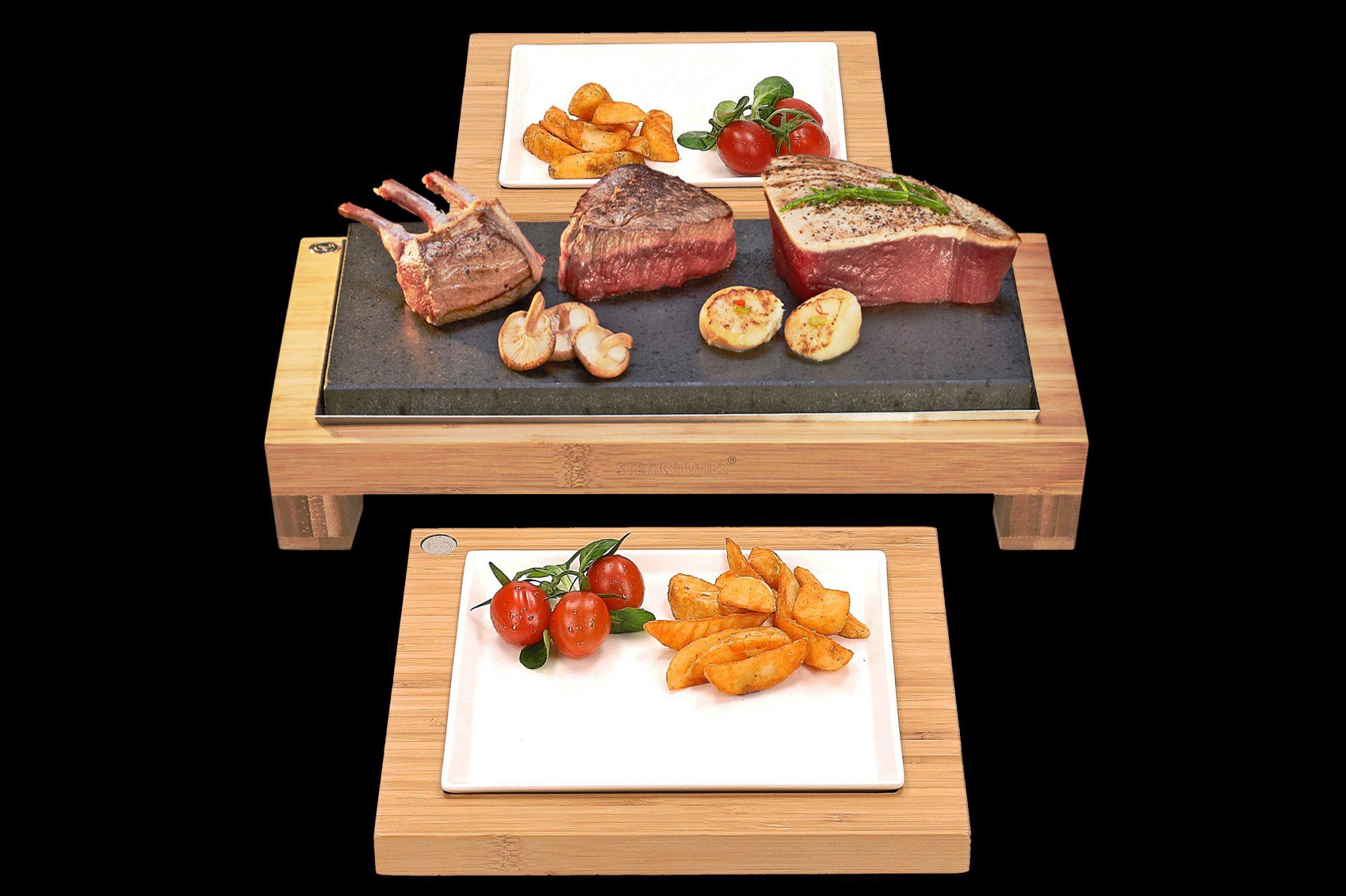 The Raised Steak Sharer \u0026 Server Sets. Fillet Steak baby Rack of Lamb & The Raised Sharing Steak Plate \u0026 Server Sets (SS003RSRV) - SteakStones